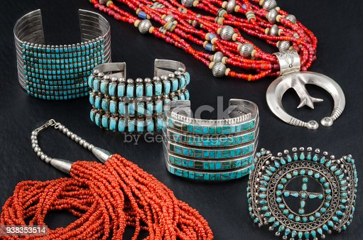 istock Collection of Native American Turquoise, Silver and Coral Jewelry 938353514