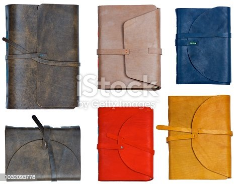 Collection of Colorful Handmade Luxury Leather Notepads isolated on White background
