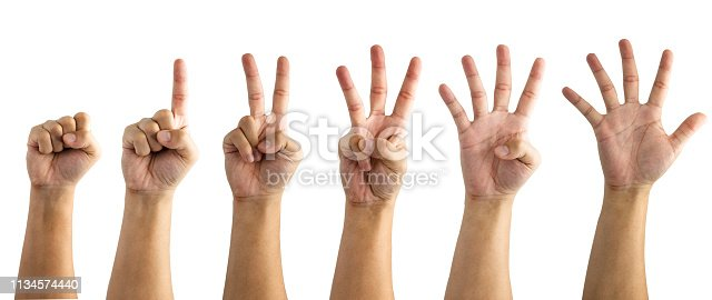 466657402 istock photo Collection of numbering since zero one two three four and five of hand on white background. Isolated and clipping path. -Image. 1134574440