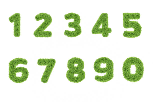 Collection of numbers. Green grass filled the character. Zero to nine, figures. isolated from a white background. stock photo
