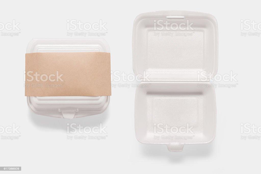 Collection of of mockup styrofoam box set isolated. stock photo