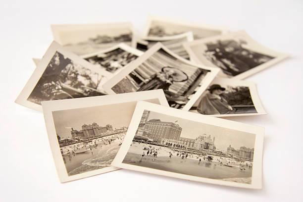 Collection of old black and white photographs stock photo
