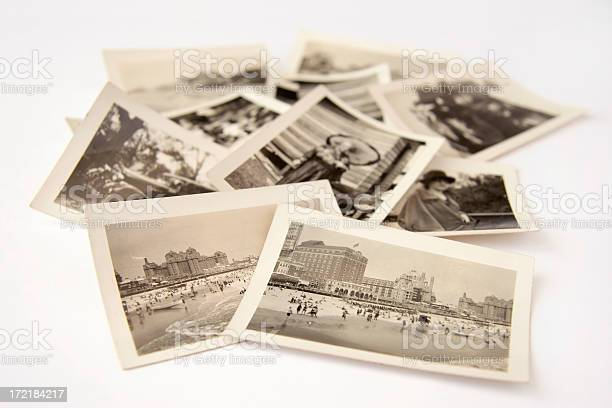 Collection Of Old Black And White Photographs Stock Photo - Download Image Now