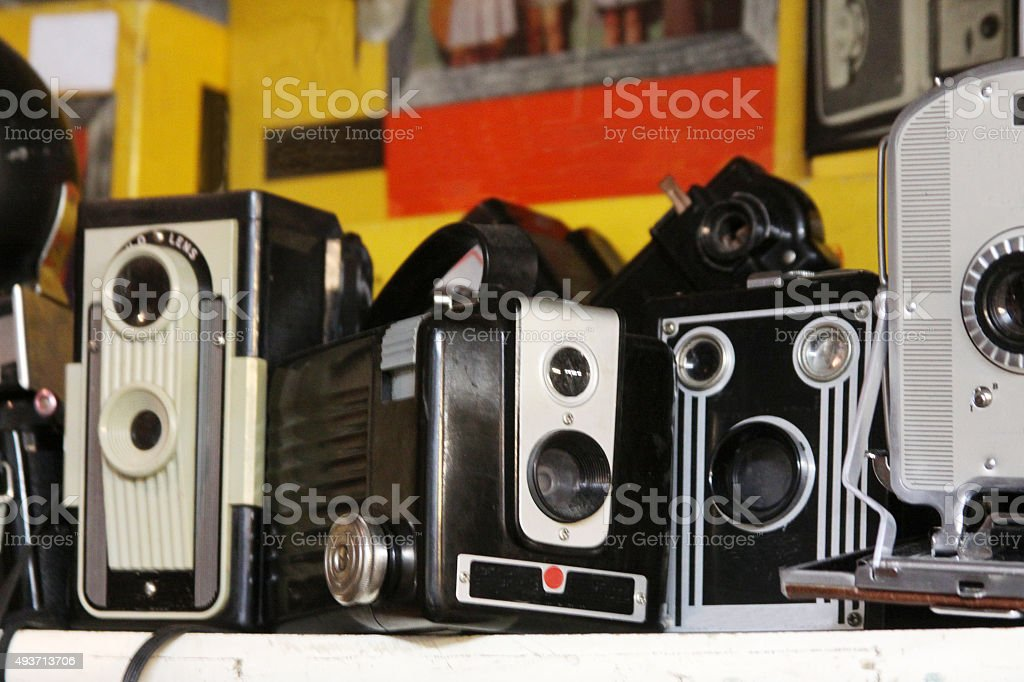 Collection of Old Cameras stock photo