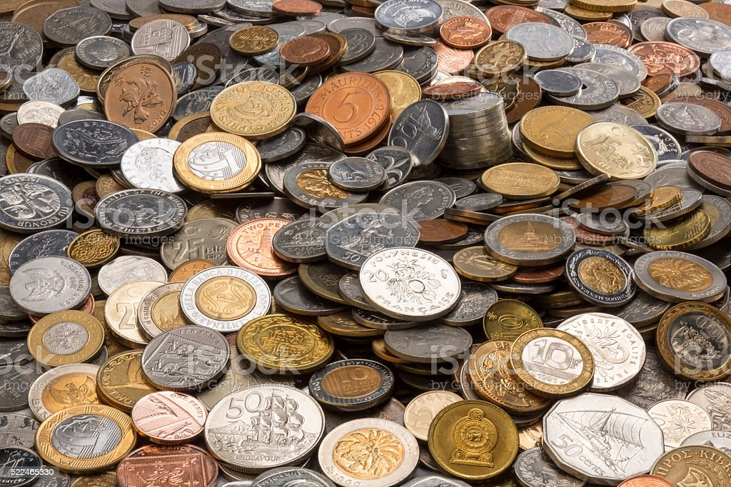 Collection of Old Coins stock photo