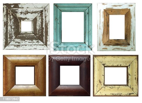 6 antique wooden frames, isolated from background.  Various amounts of wear and tear.