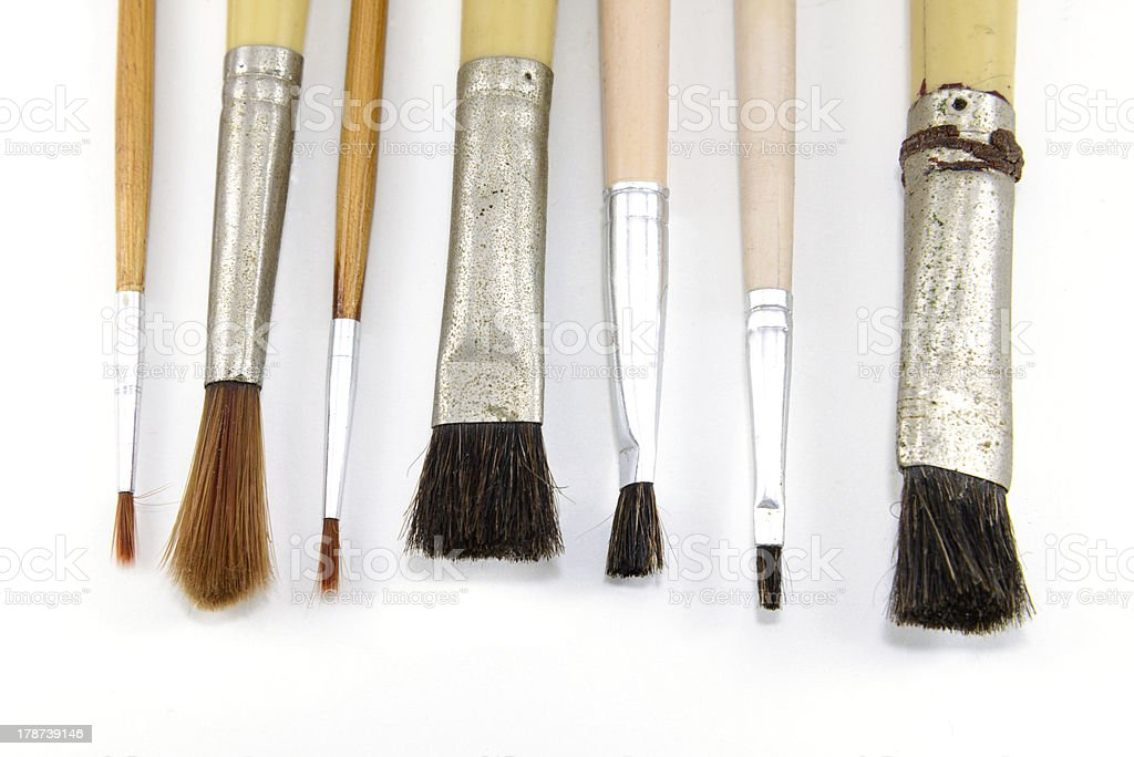 Collection of old paintbrush royalty-free stock photo