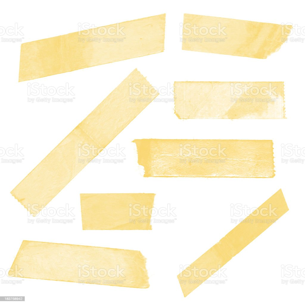 Collection of old sticky tape isolated on white background XXL stock photo