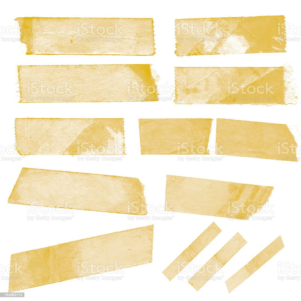 Collection of old sticky tape on a white background stock photo