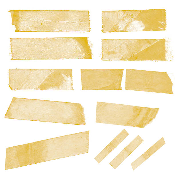 collection of old sticky tape on a white background - adhesive tape stock photos and pictures