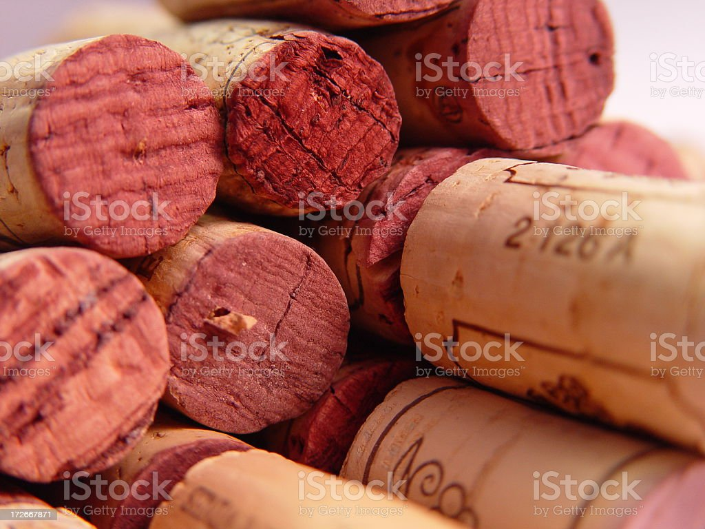A collection of old wine bottle corks royalty-free stock photo