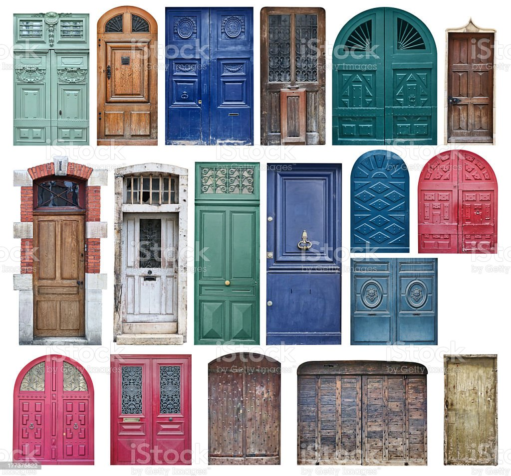 Collection of old wooden doors isolated on white stock photo