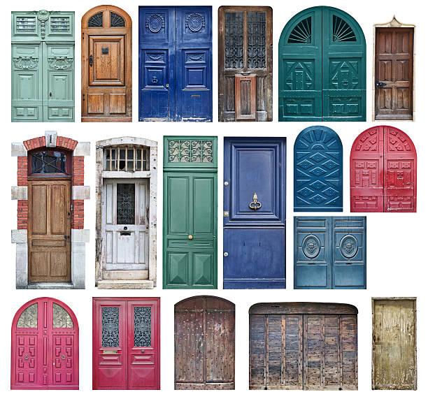 collection of old wooden doors isolated on white - boog architectonisch element stockfoto's en -beelden