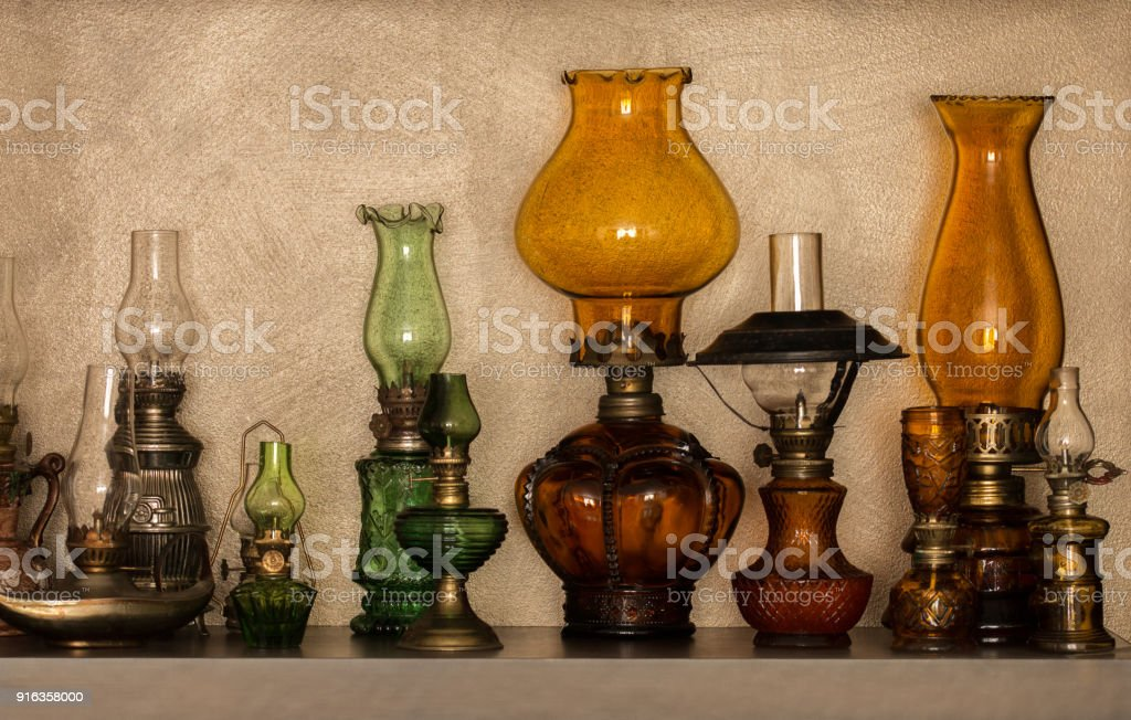 Picture of: Collection Of Oldstyled Kerosene Lamps On Shelf Stock Photo Download Image Now Istock