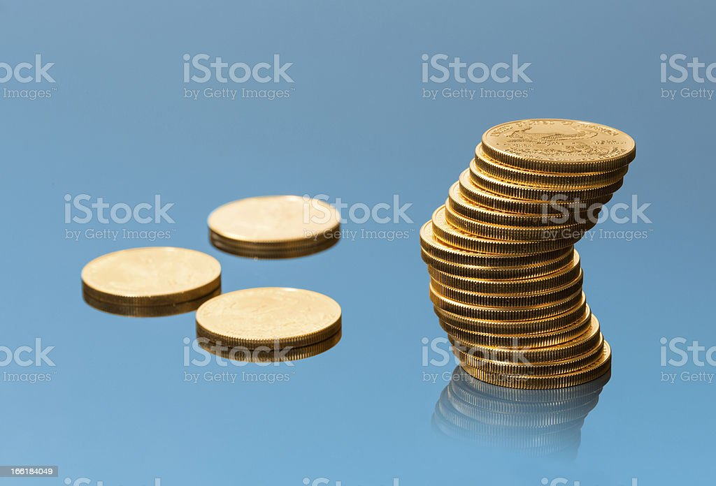 Collection of one ounce gold coins royalty-free stock photo