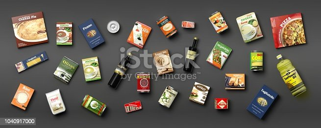 istock Collection of packaged food on grey background. 3d illustration 1040917000