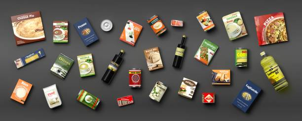 collection of packaged food on grey background. 3d illustration - packaging foto e immagini stock