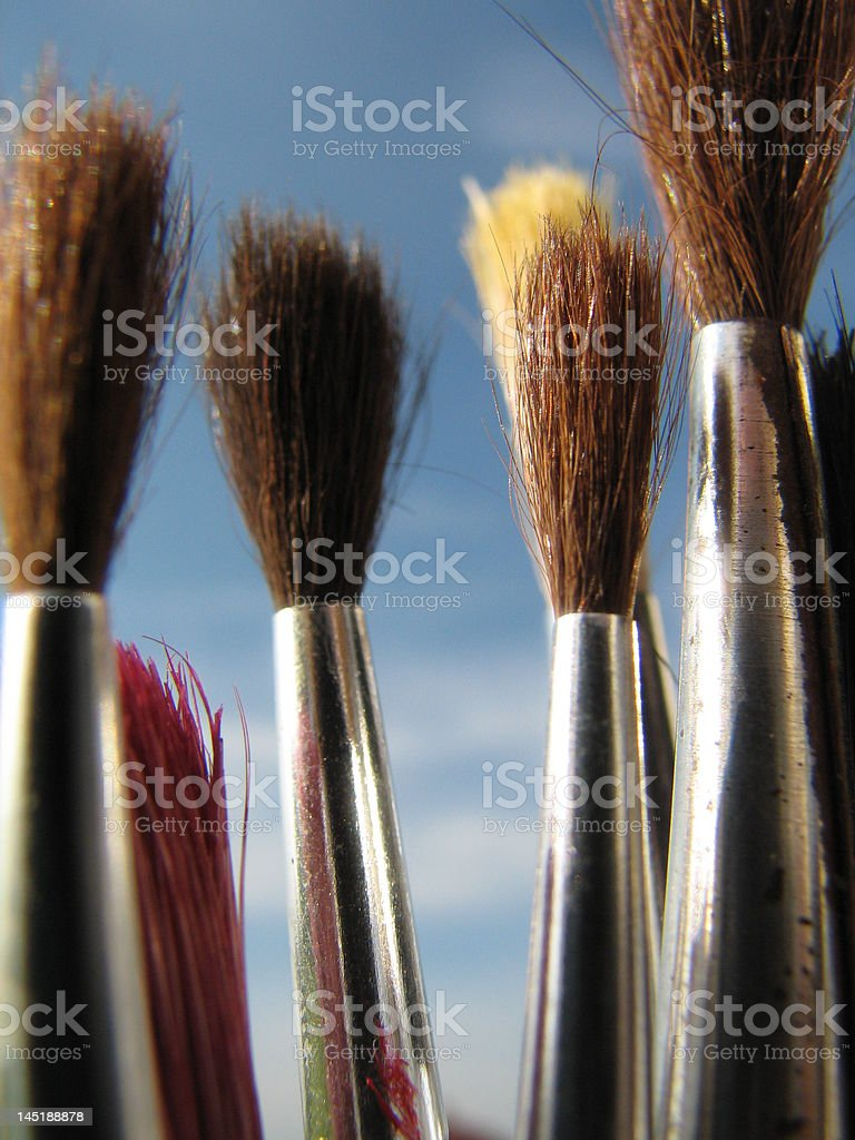collection of paintbrushes royalty-free stock photo