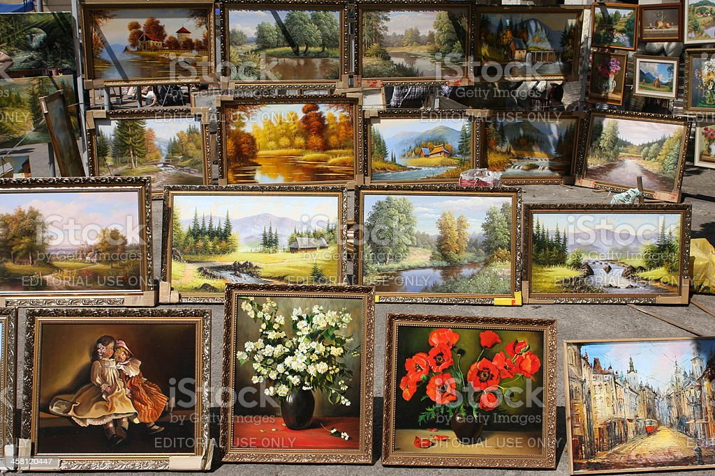 Collection of paintings stock photo