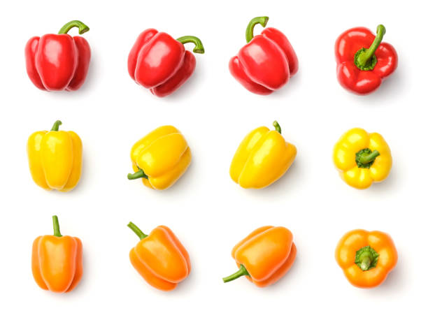 Collection of peppers isolated on white background. Set of multiple images. Part of series stock photo