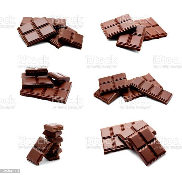 Collection of photos dark milk chocolate bars stack isolated on a picture id959839224?b=1&k=6&m=959839224&s=612x612&h=i2636rviyadk9mbisxwdry0fdkykyzikghj2vgzrrzm=