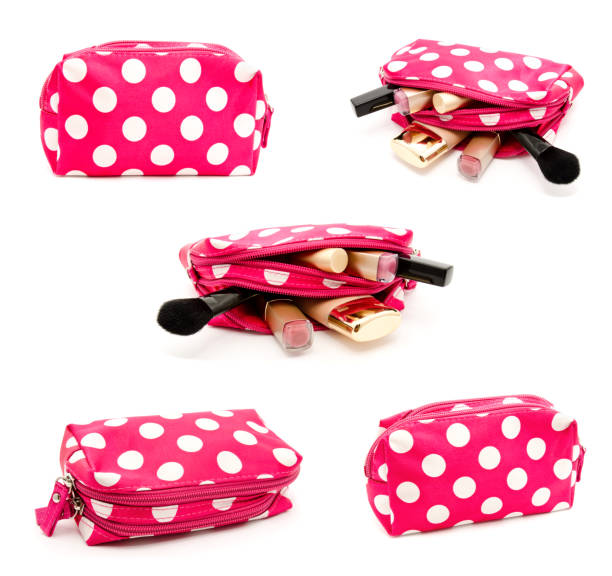 Collection of photos pink make up bag with cosmetics - foto stock