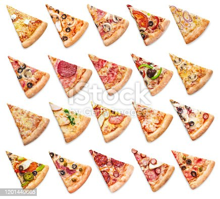 Large collection of various pizza slices, isolated on white background