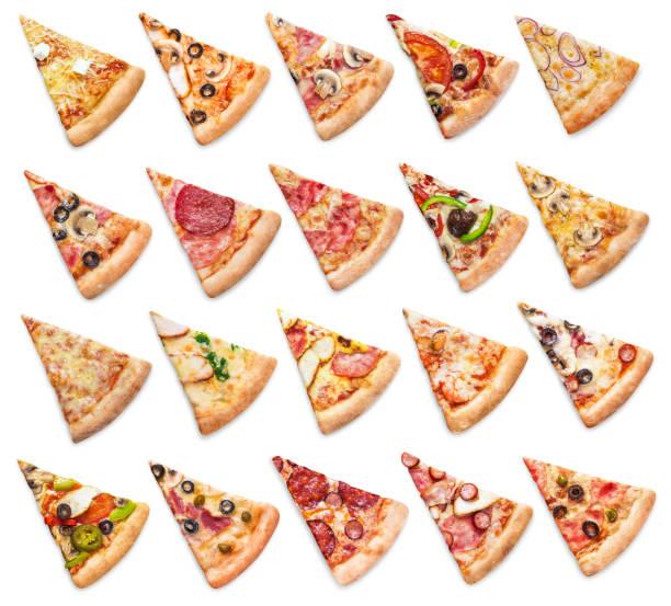 coleção de fatias de pizza em branco - fatia - fotografias e filmes do acervo