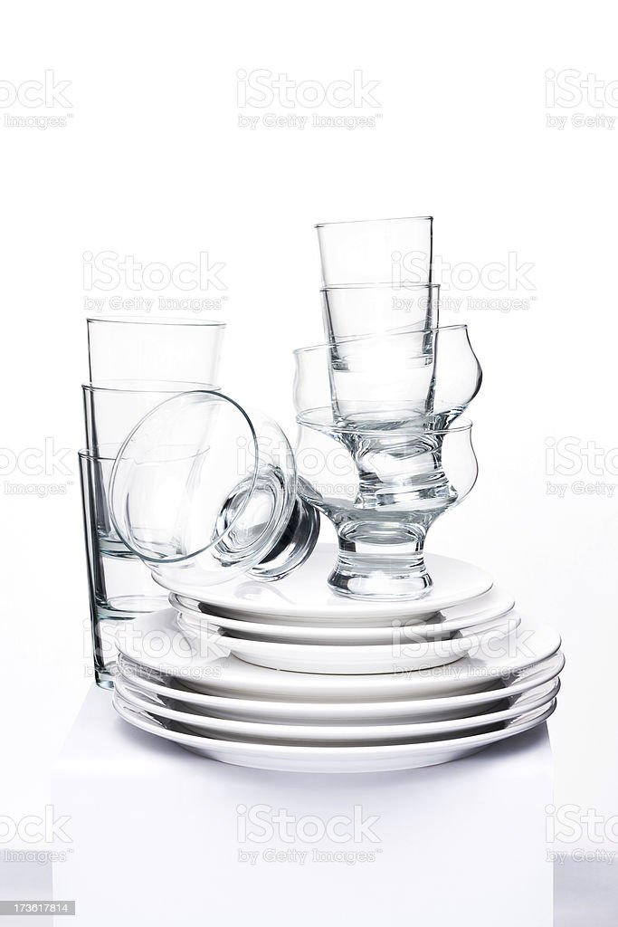 Collection of plates and glasses stock photo