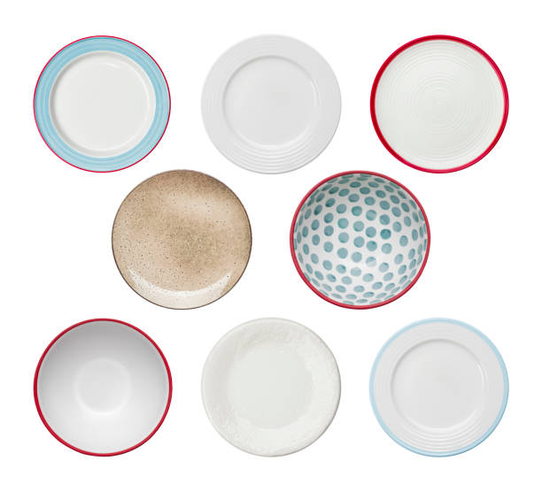 Collection of plates with different ornaments isolated on white background stock photo