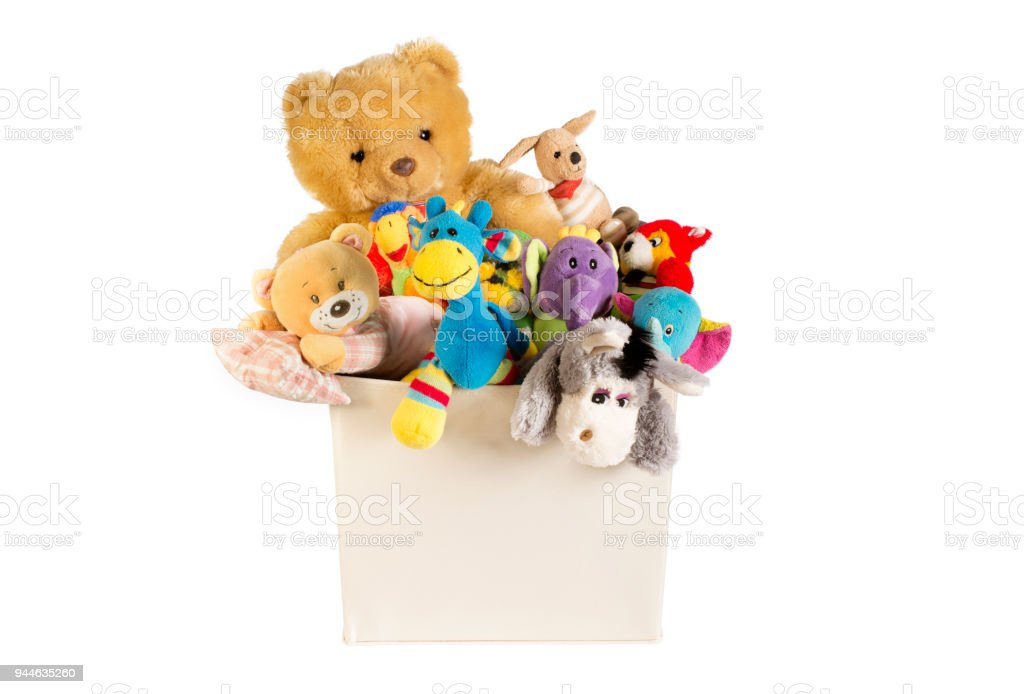 Collection of plush toys in white toys box royalty-free stock photo
