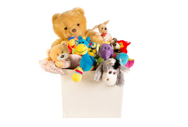 collection of plush toys in white toys box - toy stock pictures, royalty-free photos & images