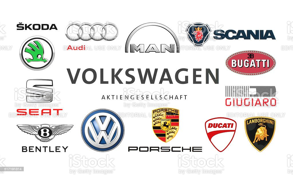 Collection of popular car logos stock photo