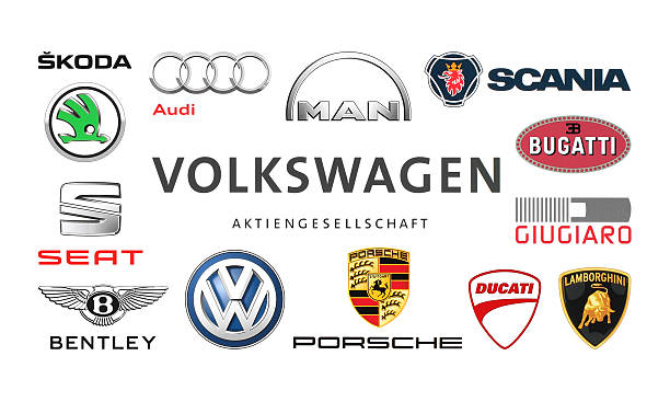 Collection of popular car logos Kiev, Ukraine - February 24, 2016: Collection of popular car logos printed on white paper: Volkswagen, Audi, Seat, Bentley, Bugatti, Ducati, Giugiaro, Lamborghini, Scania, Skoda and other vehicle brand name stock pictures, royalty-free photos & images
