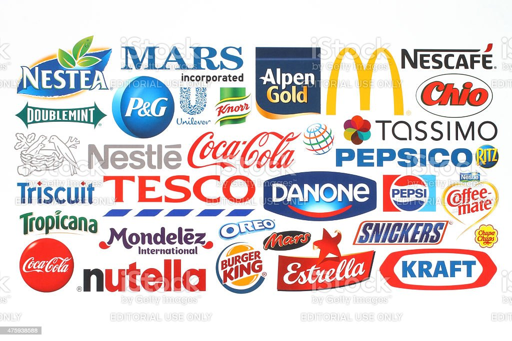 Collection of popular food logos companies printed on paper stock photo