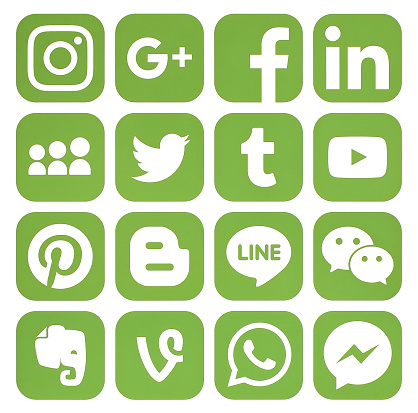 Kiev: Collection of popular greenery social media icons printed on paper: Facebook, Twitter, Google Plus, Instagram, Pinterest, LinkedIn, Blogger, Tumblr and others
