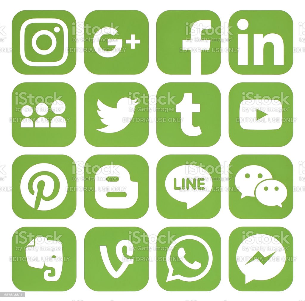 Collection of popular greenery social media icons stock photo