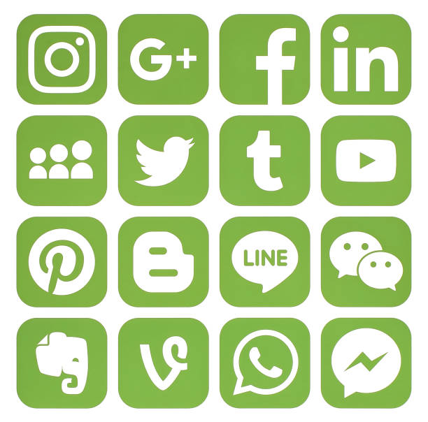 collection of popular greenery social media icons - logo stock photos and pictures