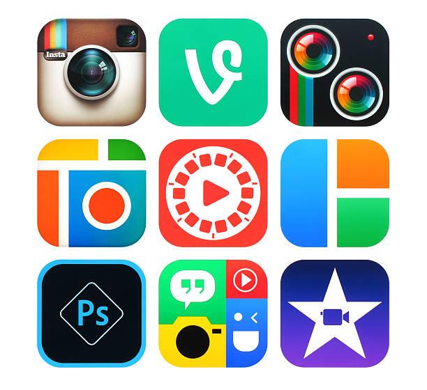 Sammlung von beliebten Foto und video-Symbole auf Papier – Foto