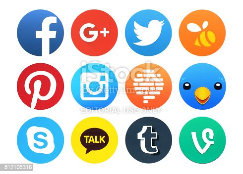 istock Collection of popular round social networking icons printed on paper 512105316