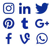 Collection of popular social media blue logos