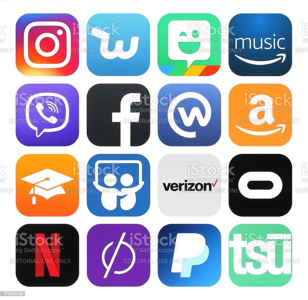 Collection of popular social media, business, photo logos stock photo