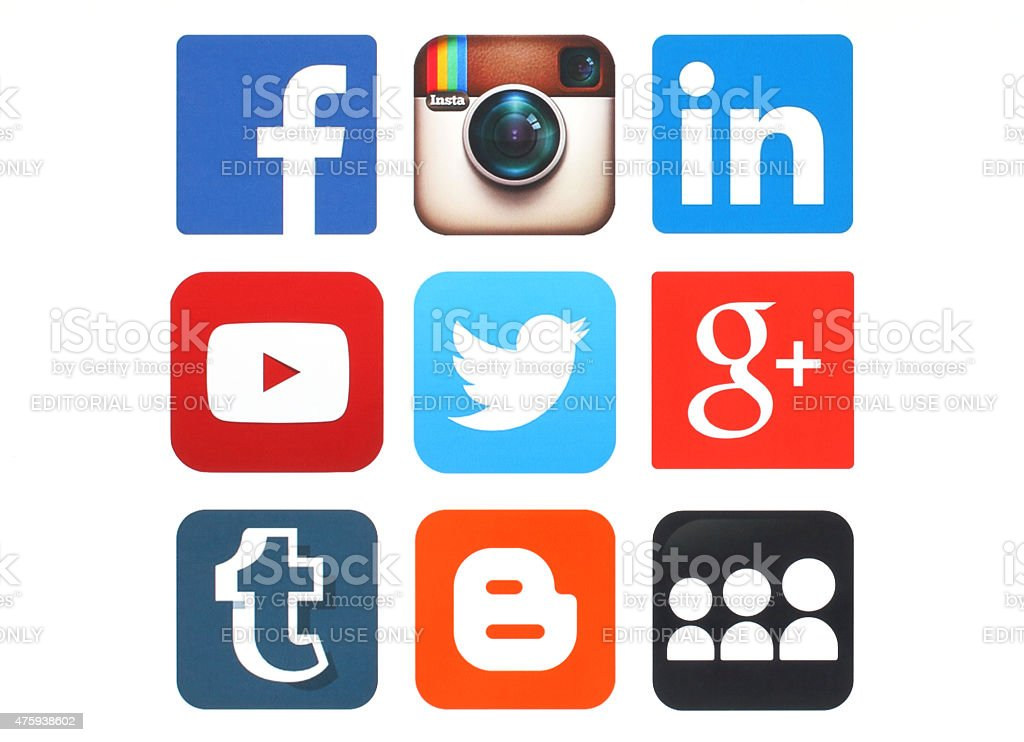 Collection of popular social media logos printed on paper Kiev, Ukraine - May 12, 2015:Collection of popular social media logos printed on paper:Facebook, Twitter, Google Plus, Instagram, MySpace, LinkedIn, YouTube, Tumblr and Blogger 2015 Stock Photo