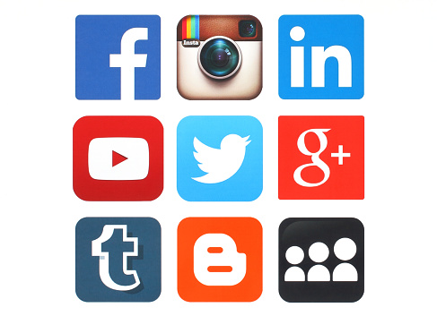 Collection Of Popular Social Media Logos Printed On Paper Stock Photo - Download Image Now