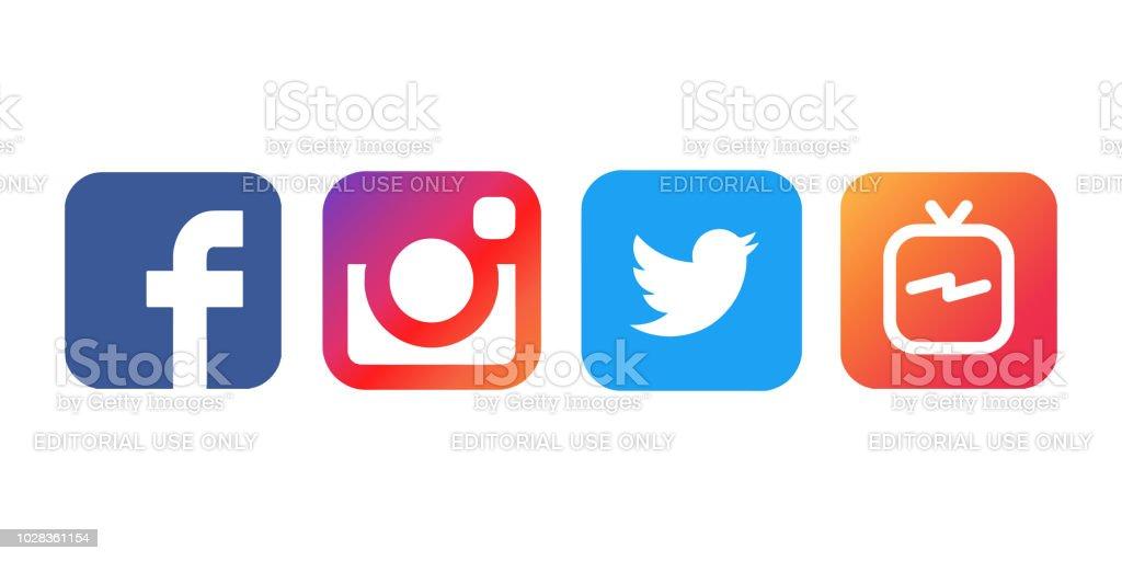 78b6b79a79283 Colección de logos de redes sociales populares impresos sobre papel blanco   Facebook