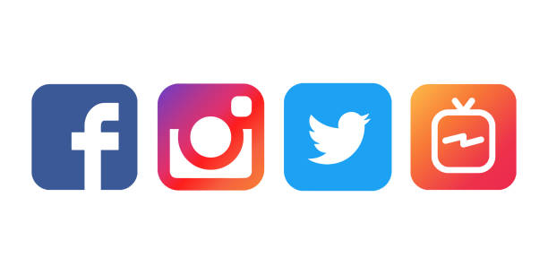 collection of popular social media logos printed on white paper: facebook, instagram, twitter and igtv. - icone foto e immagini stock