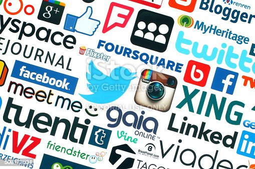 istock Collection of popular social media logos printed on white paper 506177534