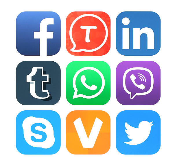 collection of popular social networking icons - icon stock pictures, royalty-free photos & images