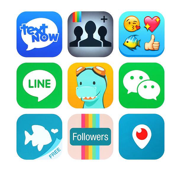 Sammlung von beliebten social-networking-Symbole auf Papier gedruckt – Foto