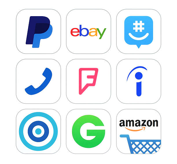 Collection of popular social networking logo signs printed on paper stock photo